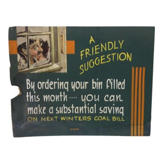 "1930s Vintage ""A Friendly Suggestion"" Tom Sturges Jr. Original Advertising Sign For Sale"