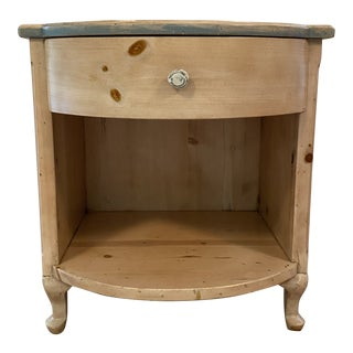 Custom Pine Bow-Front Nightstand For Sale