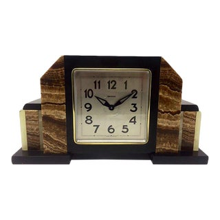 Art Deco French Marble Clock From Bayard, 1930s For Sale