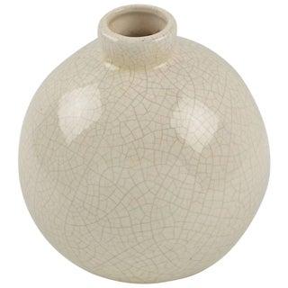 Saint Clement France Art Deco Off-White Crackle Glaze Ceramic Vase For Sale