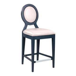 Bastille Counter Stool in White Vinyl For Sale