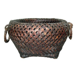 Antique Japanese Bamboo Basket For Sale