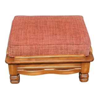 Large Vintage Monterey Style Solid Wood Ottoman Bench W Red Orange Upholstery For Sale