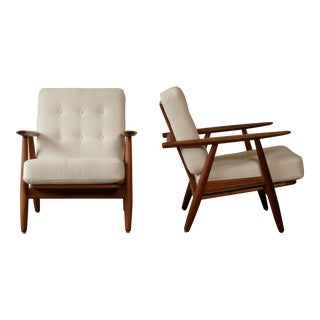 1950s-1960s Vintage Hans Wegner Ge-240 Cigar Chairs - a Pair For Sale