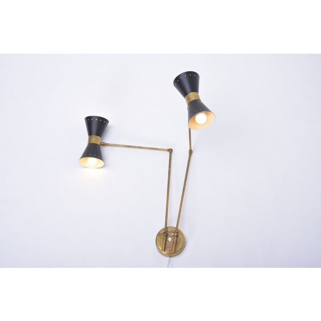 Italian Two-Armed Adjustable Metal Wall Lamp With Brass Elements For Sale - Image 4 of 9
