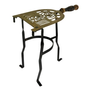 Antique Brass and Iron Fireplace Kettle Stand For Sale