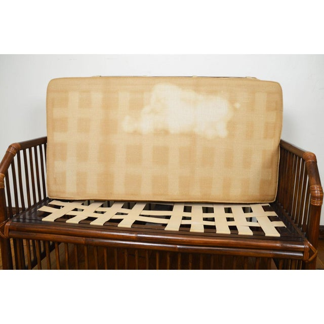 1980s Vintage Rattan Settee in the Manner of Willow and Reed For Sale - Image 10 of 13