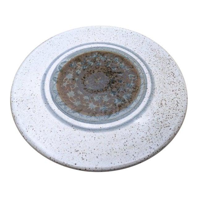 Midcentury Modern Round Glazed Pottery Pedestal Platter For Sale