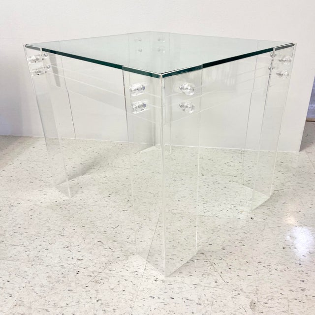 1970s Modernist Lucite and Glass Coffee Table For Sale - Image 10 of 10