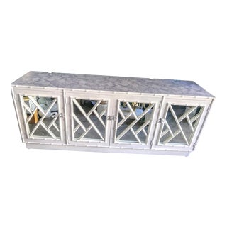 Vintage Chinese Chippendale Fret Work, Mirror White Faux Bamboo Gloss Palm Beach Regency Credenza For Sale