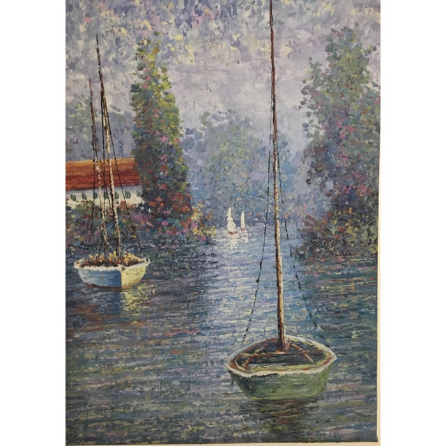 Nautical Vintage Sailing Boats on the Lake Oil on Canvas Painting For Sale - Image 3 of 11