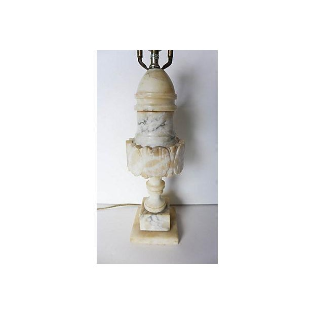 Renaissance Antique Alabaster Lamp with White Grain Marbling For Sale - Image 3 of 5