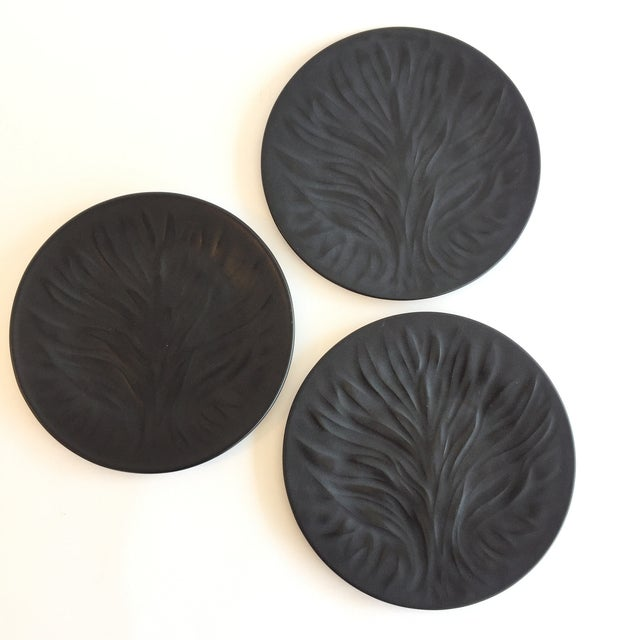 "Set of 3 Lalique frosted black glass 7-3/4"" salad plates in a pattern called Algues Noir, or Tree of Life. Beautifully..."