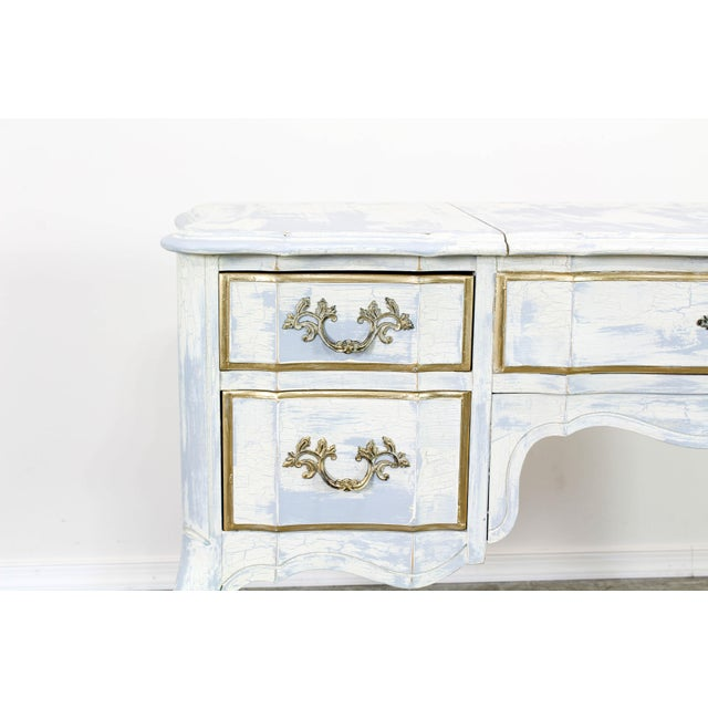French Provincial White Shabby Chic Vanity Desk For Sale - Image 11 of 13
