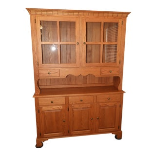 Heavy Solid Red Oak China Cabinette by Edrich Mills Wood Shop For Sale