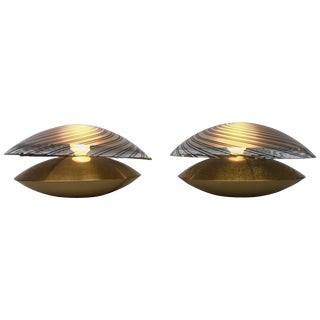 Pair of Lamps Brass and Murano Glass by Esperia, Italy, 1970s For Sale