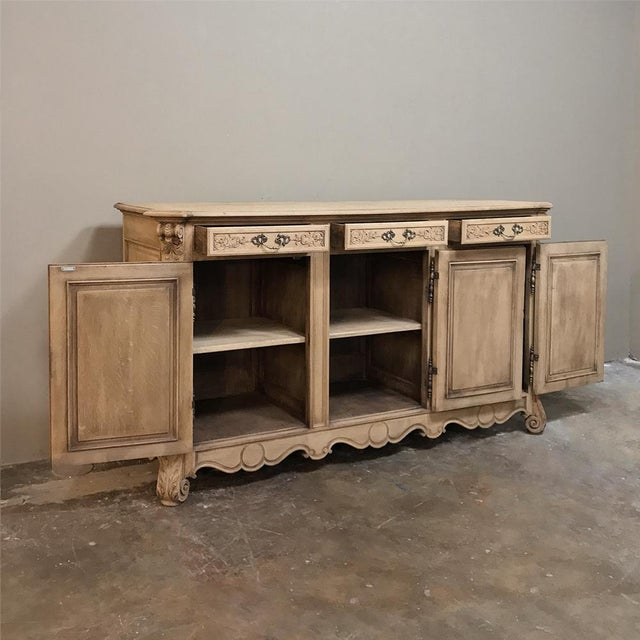 19th Century Country French Regence Stripped Oak Buffet For Sale - Image 4 of 13