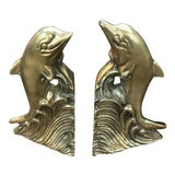 Image of Vintage Brass Dolphin Bookends - a Pair For Sale