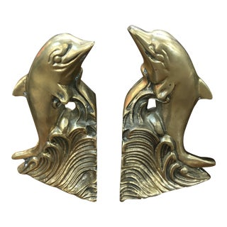 Vintage Brass Dolphin Bookends - a Pair For Sale