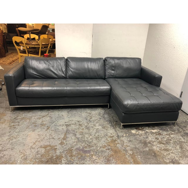 Natuzzi Silvio Pheonix Gray Leather Sectional For Sale - Image 10 of 10