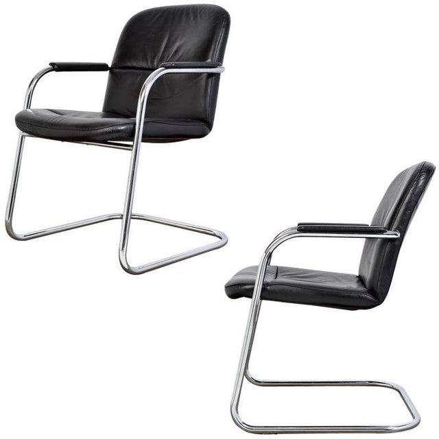 Mid-Century Leather & Chrome Armchairs - A Pair - Image 1 of 10