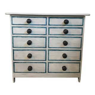Gustavian Style Painted Chest or Commode With 10 Drawers For Sale