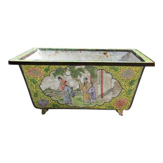 Antique Chinese Enamel on Brass Chinoiserie Style Hand-Painted Footed Square Planter For Sale