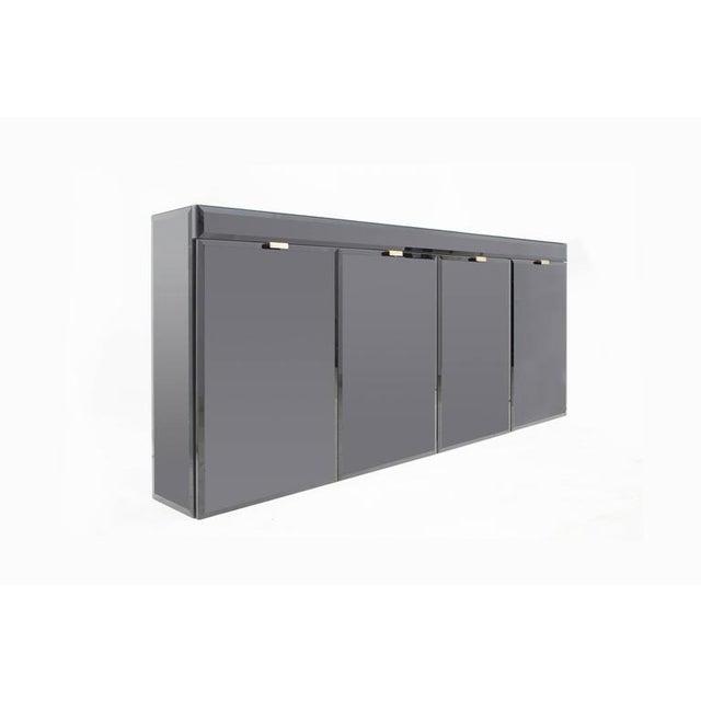 Black High-End Hollywood Regency Four-Door Cabinet For Sale - Image 8 of 11