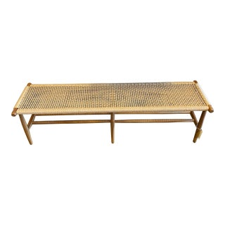 Woven Cord and Teak Bench For Sale