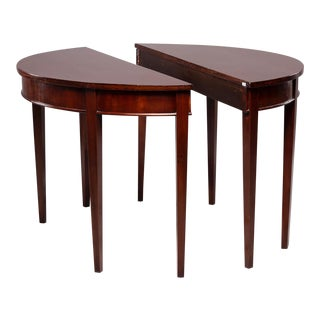 English Mahogany Demi Lune Tables - a Pair For Sale
