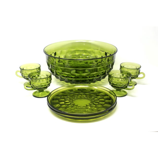 Cubism 1970's Colony Whitehall Collection Green Punch Bowl, Cups and Plates - Set of 7 For Sale - Image 3 of 11