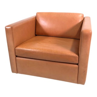 Knoll Club Chair by Charles Pfister in Saddle Leather For Sale