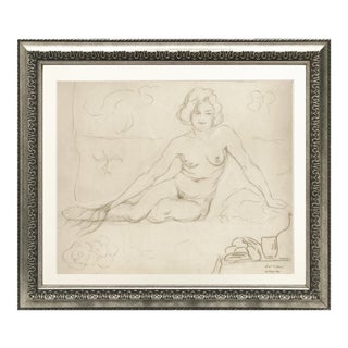 Vintage French Drawing of a Reclining Nude 1930 For Sale