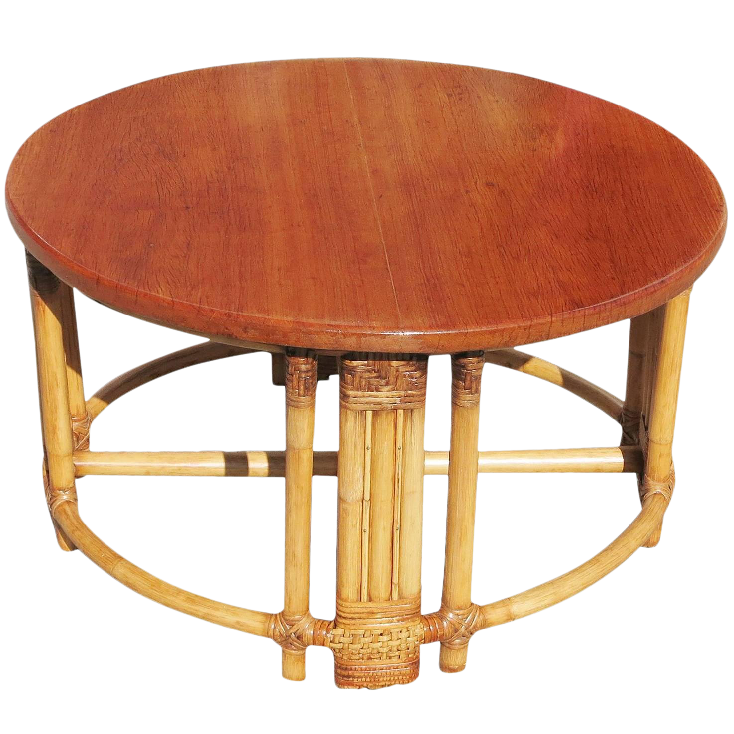 Superbe Restored Round Rattan Coffee Table With Mahogany Top And Fancy Wrapping