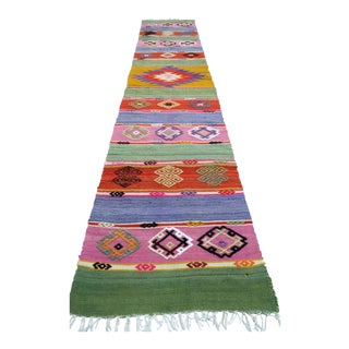 Early 20th Century Vintage Turkish Kilim Runner-1′8″ × 8′5″ For Sale