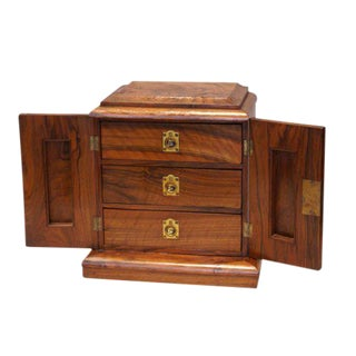 Burled Walnut & Rosewood Jewelry Box For Sale