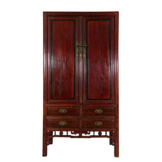 Late 19th Century Antique Chinese Carved Beech Wood Armoire For Sale