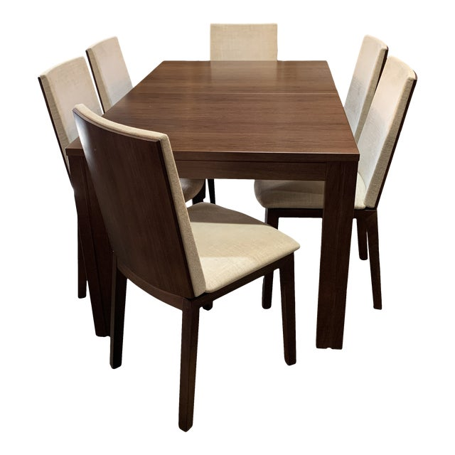 Danish Modern Skovby Extended Dining Table and Six Chairs -- 7 Pieces For Sale