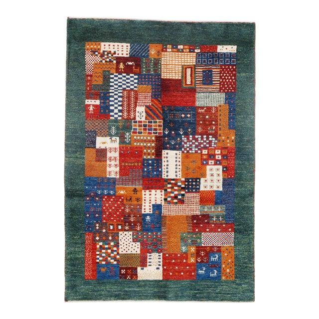 """Pasargad N Y Genuine Persian Gabbeh Wool Rug - 3′4″ × 4′11"""" For Sale"""