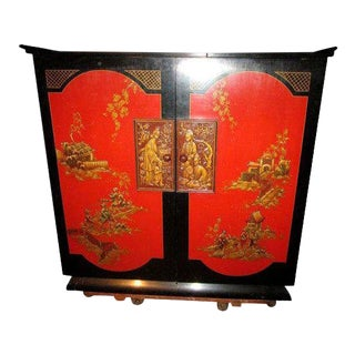 Asian Chinoiserie Red Lacquer Bar Cabinet Radio Tube Stromberg Firm For Sale