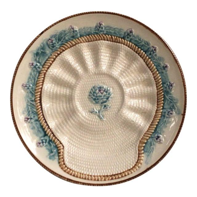 Rare French Majolica Artichoke Plate Longchamp, Circa 1890 For Sale