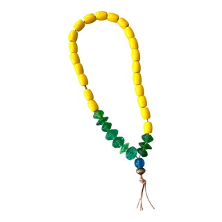 Mid-Century Boho Yellow and Green African Beads For Sale