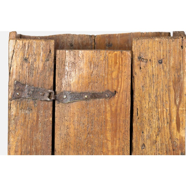 Very Rustic Italian Chestnut Single Door Cabinet With Wrought Iron Hinges, Circa 1720. For Sale - Image 9 of 13