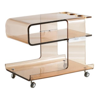 French Smoked Lucite Bar Cart by Michel Dumas for Roche Bobois, 1970's For Sale