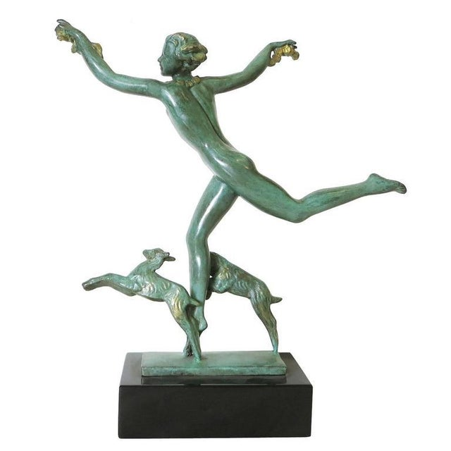 Derenne Style Art Deco Nude Dancing Nymph Bronze Statue with Black Marble - Image 4 of 8