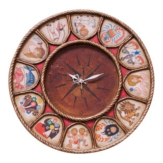 Vintage Hand-Illustrated Zodiac Wall Clock For Sale