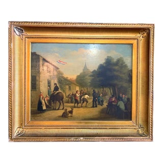19th Century French Cityscape Oil Painting, Framed For Sale