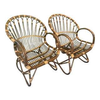 Vintage Sculpted Bamboo Franco Albini Style Chairs-Pair For Sale