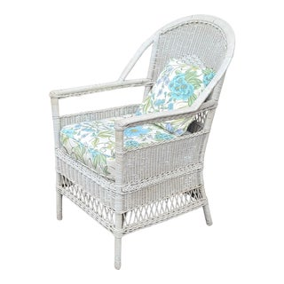 Antique Early 20th Century Diamond Back Woven Victorian Wicker Armchair, C1920 For Sale