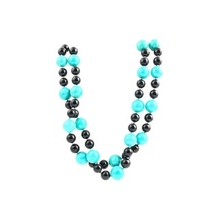 Onyx & Turquoise Bead Necklace For Sale